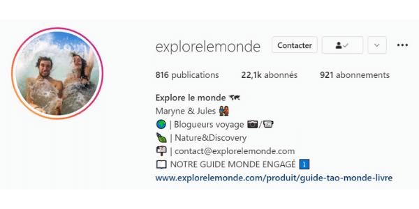 Exemple de biographie Instagram
